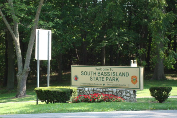 The entrance to the South Bass Island State Park, with official signage.