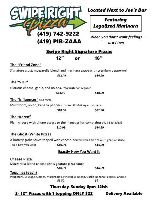 Swipe Right Pizza Menu